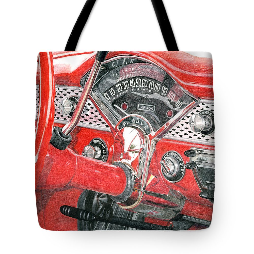 Classic Tote Bag featuring the drawing 1955 Chevrolet Bel Air by Rob De Vries