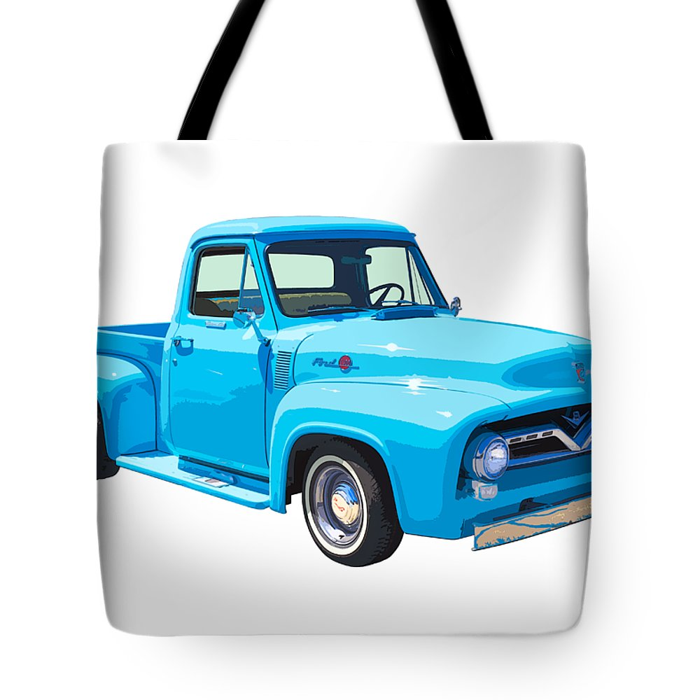 1955 Ford F100 Pickup Truck Short Bed Tote Bag Featuring The Photograph Blue Canvas 1000x1000