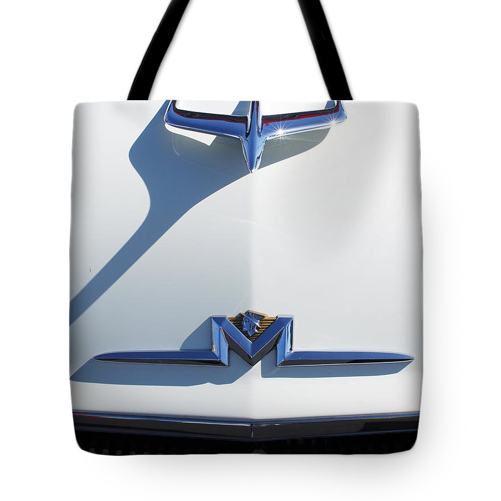1956 Mercury Hood Ornament Tote Bag featuring the photograph 1956 Mercury Hood Ornament by Jill Reger