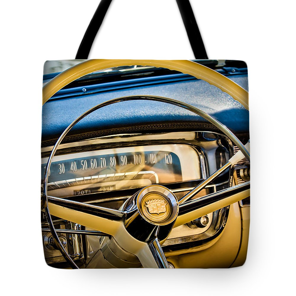 1956 Cadillac Steering Wheel Tote Bag featuring the photograph 1956 Cadillac Steering Wheel by Jill Reger