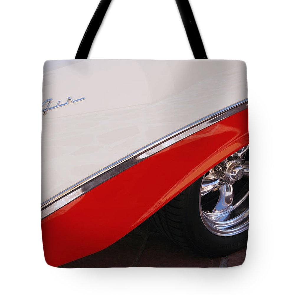 Chevy Tote Bag featuring the photograph 1956 Chevrolet Belair Convertible Wheel by Jill Reger