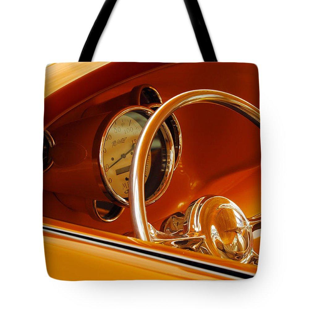 Car Tote Bag featuring the photograph 1956 Chrysler Custom 2 Door Sport Wagon Steering Wheel by Jill Reger