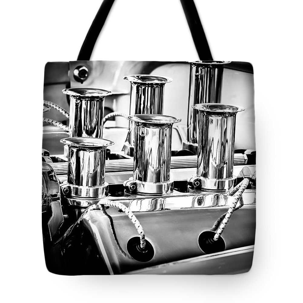 1956 Chrysler Engine Tote Bag featuring the photograph 1956 Chrysler Hot Rod Engine by Jill Reger