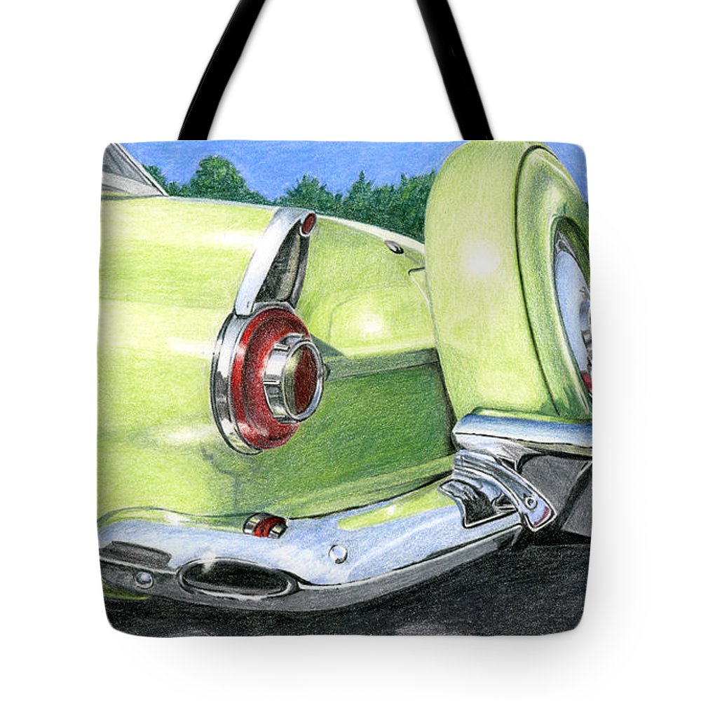 Classic Tote Bag featuring the drawing 1956 Ford Thunderbird by Rob De Vries