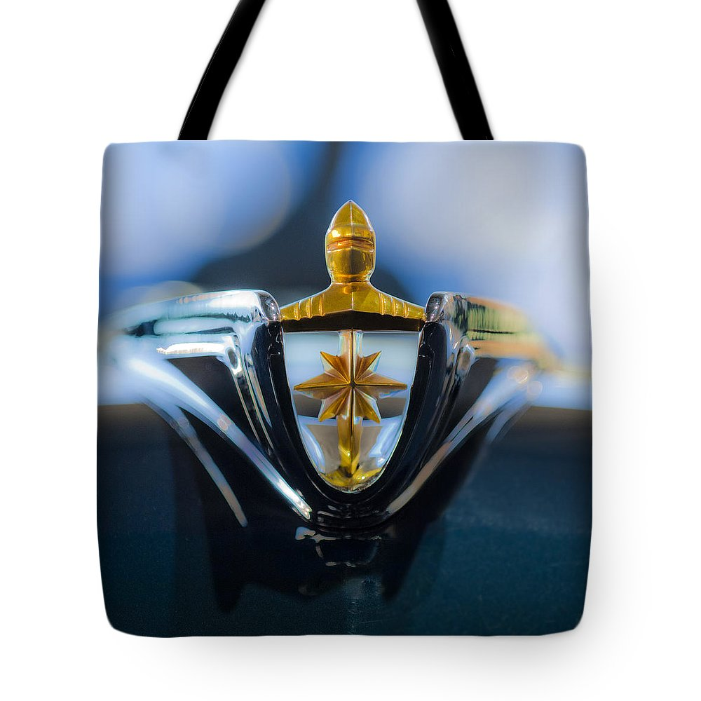 1956 Lincoln Premiere Convertible Tote Bag featuring the photograph 1956 Lincoln Hood Ornament by Jill Reger