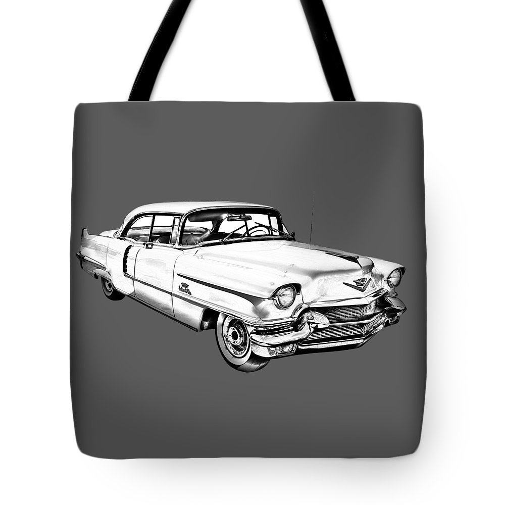 Car Tote Bag featuring the photograph 1956 Sedan Deville Cadillac Car Illustration 1956 by Keith Webber Jr