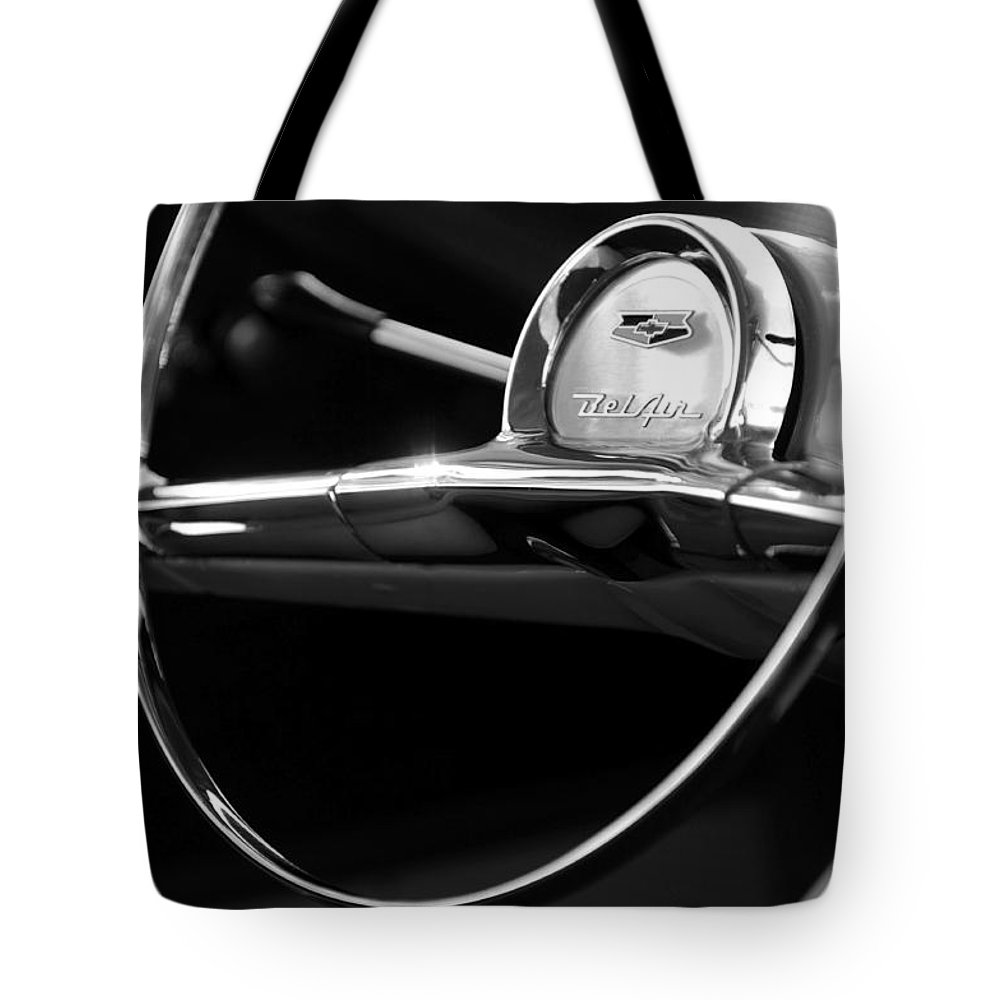 Transportation Tote Bag featuring the photograph 1957 Chevrolet Belair Steering Wheel Black And White by Jill Reger