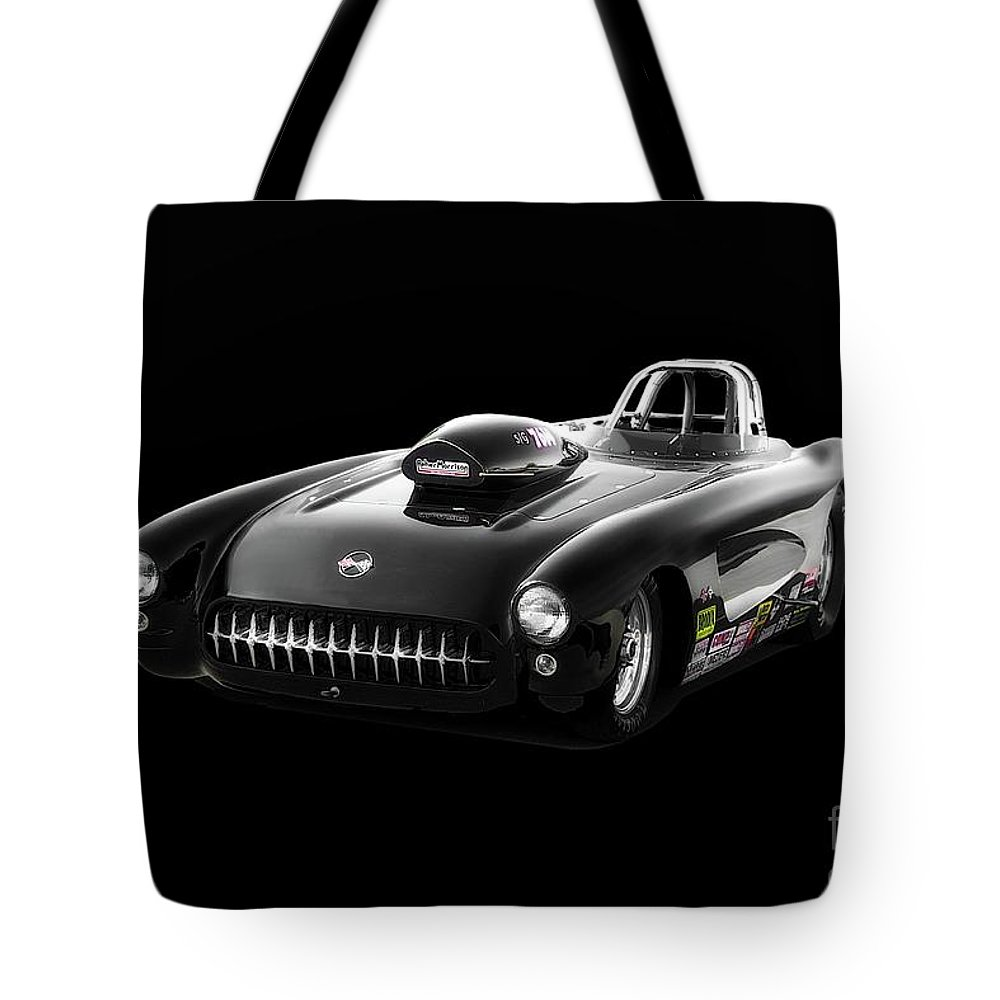 Auto Tote Bag featuring the photograph 1957 Corvette Drag Car by Dave Koontz