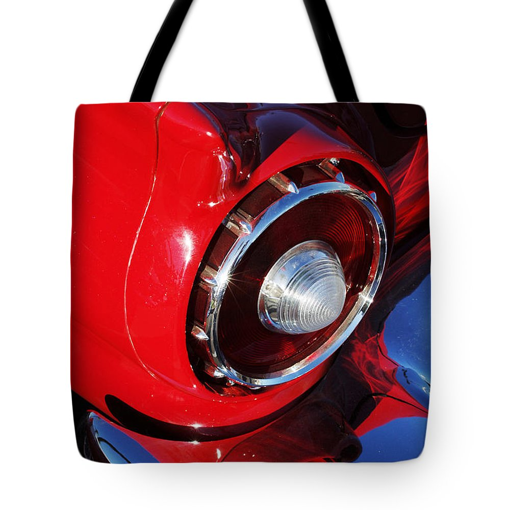 Car Tote Bag featuring the photograph 1957 Ford Thunderbird Taillight by Jill Reger