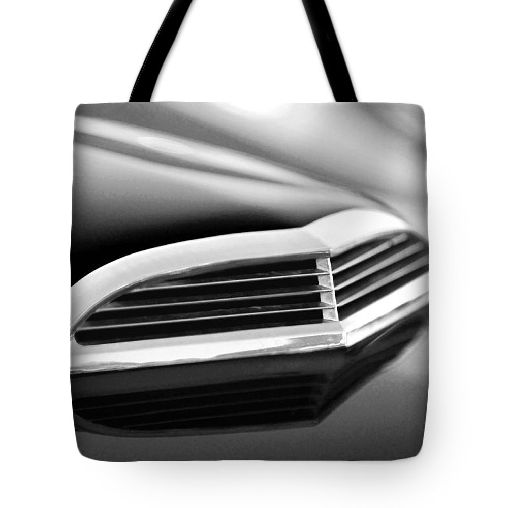 Transportation Tote Bag featuring the photograph 1957 Thunderbird Scoop Black And White by Jill Reger