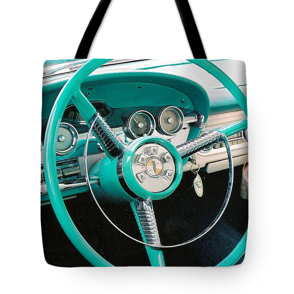 Edsel Tote Bag featuring the photograph 1958 Edsel Pacer Dash by Lauri Novak