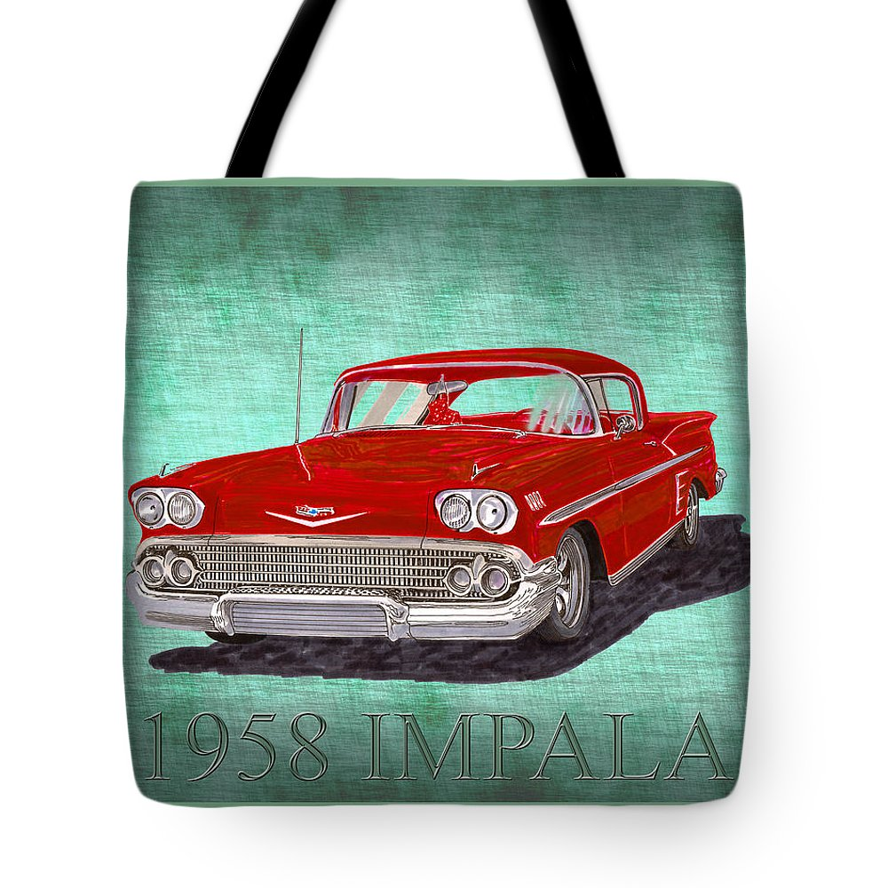 A Bright Red 1958 Chevy Impala Poised Against A Green Linen Pillow Tote Bag featuring the painting 1958 Impala By Chevrolet by Jack Pumphrey