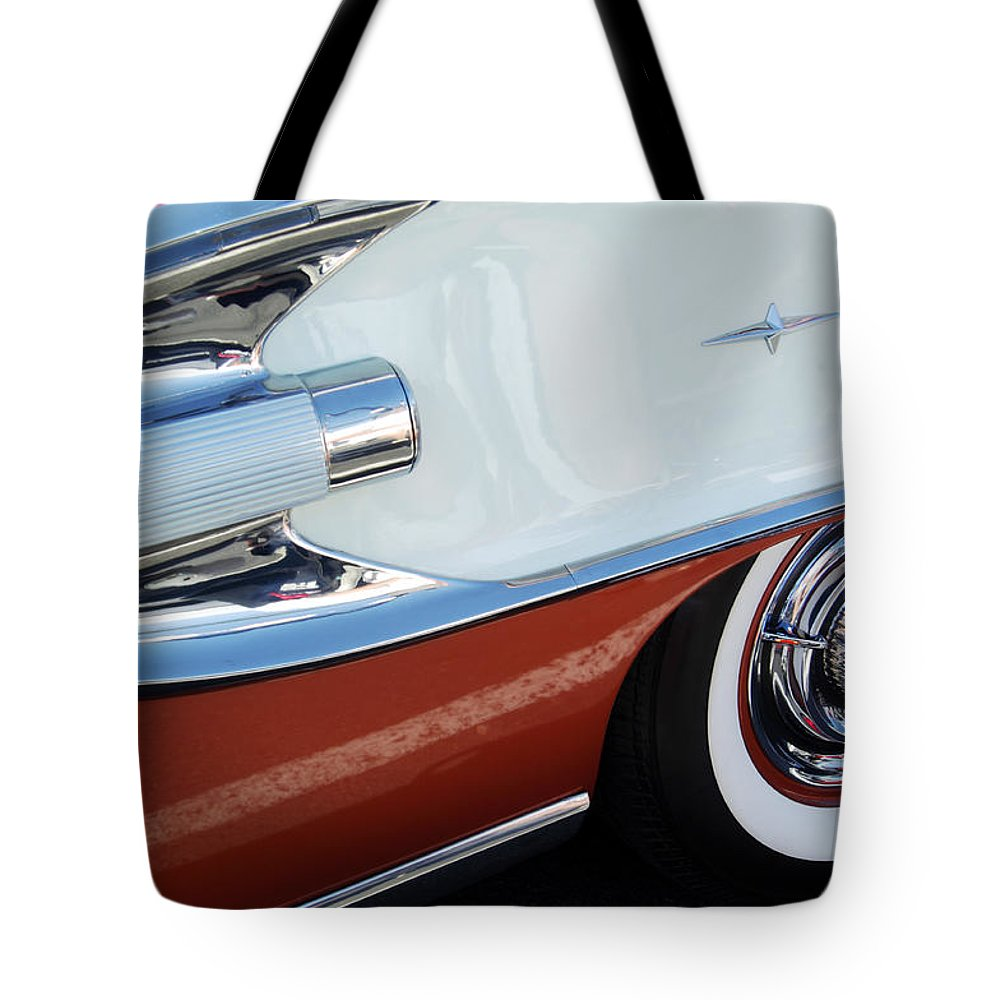 Car Tote Bag featuring the photograph 1958 Pontiac Bonneville Wheel by Jill Reger