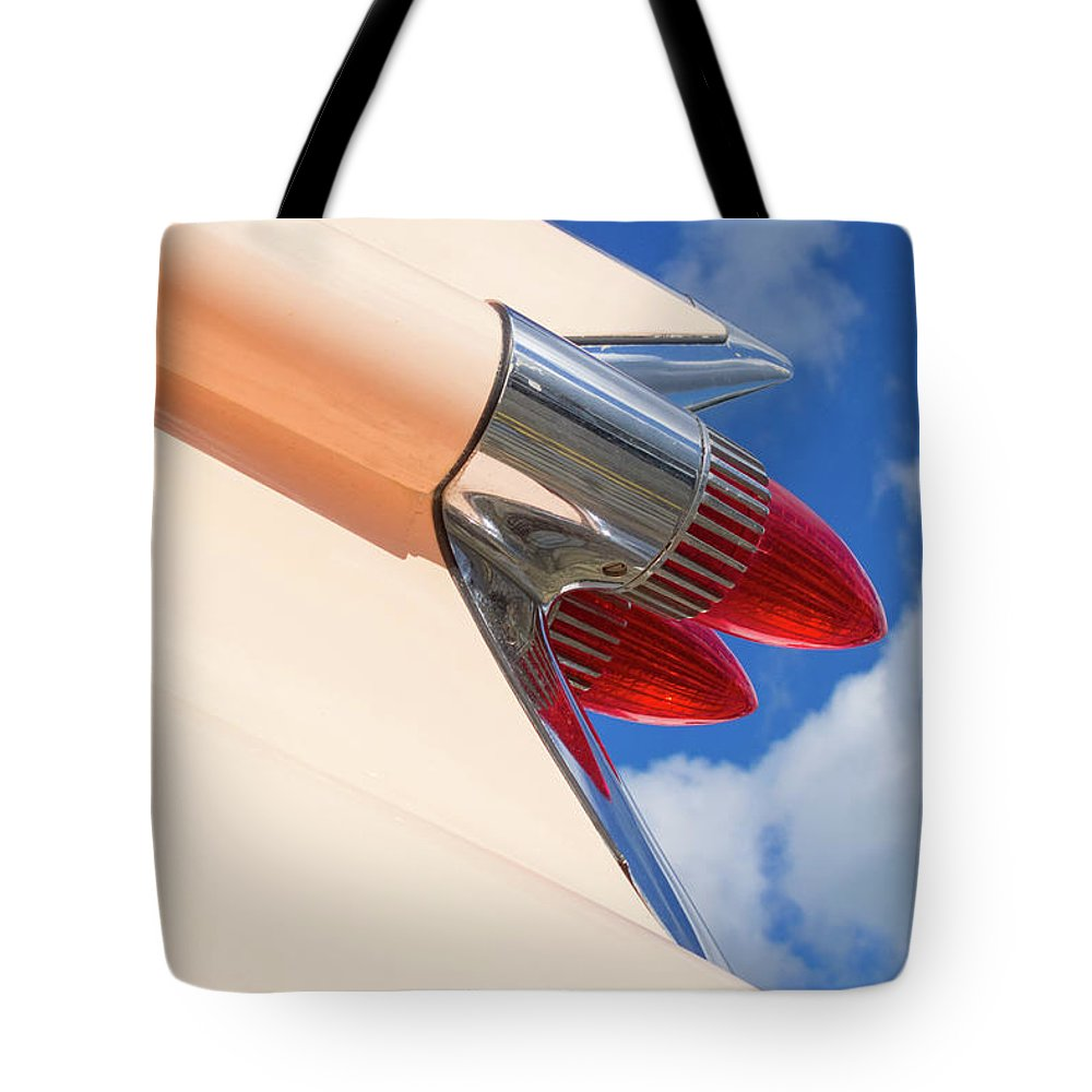 Cherished Tote Bag featuring the photograph 1959 Cadillac Coupe De Ville 08 by Richard Nixon