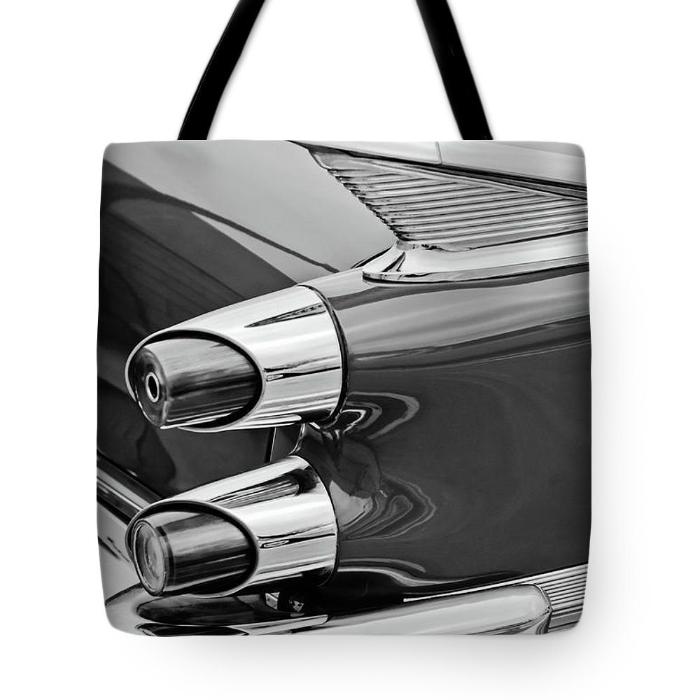 1959 Dodge Custom Royal Super D 500 Taillight Tote Bag featuring the photograph 1959 Dodge Custom Royal Super D 500 Taillight -0233bw by Jill Reger