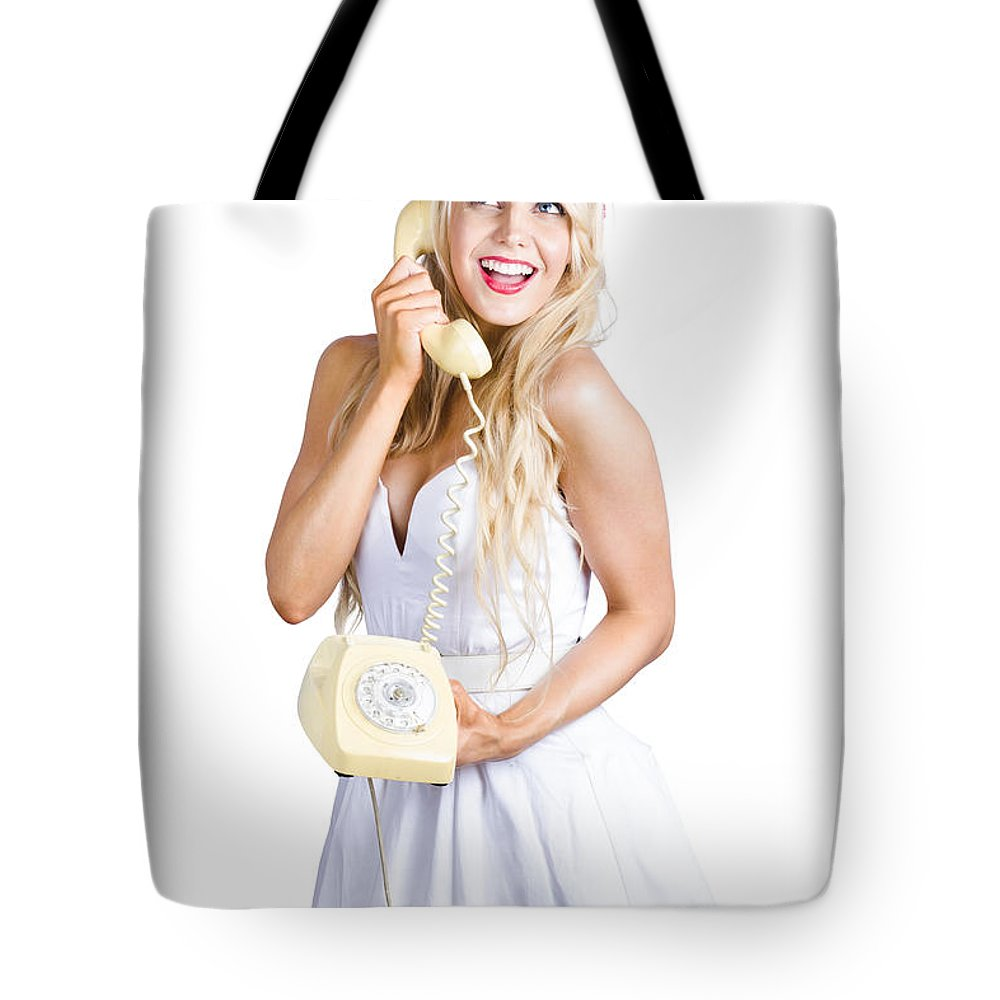 1960 Tote Bag featuring the photograph 1960s Hot Gossip Woman With Retro Telephone by Jorgo Photography - Wall Art Gallery