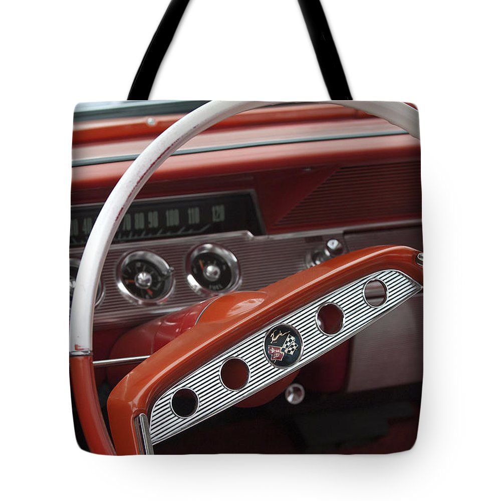1961 Chevrolet Impala Ss Steering Wheel Emblem Tote Bag For Sale By Chevy Featuring The Photograph