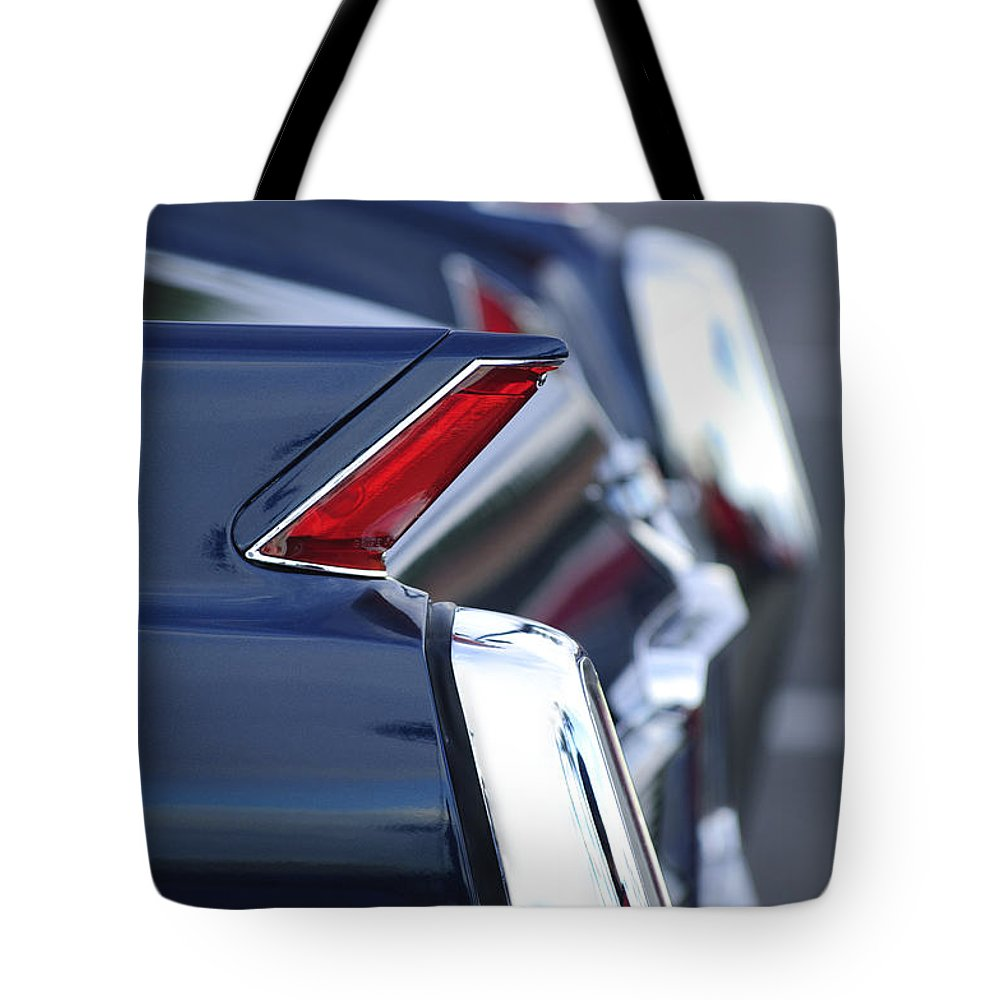 1962 Cadillac Deville Tote Bag featuring the photograph 1962 Cadillac Deville Taillights by Jill Reger