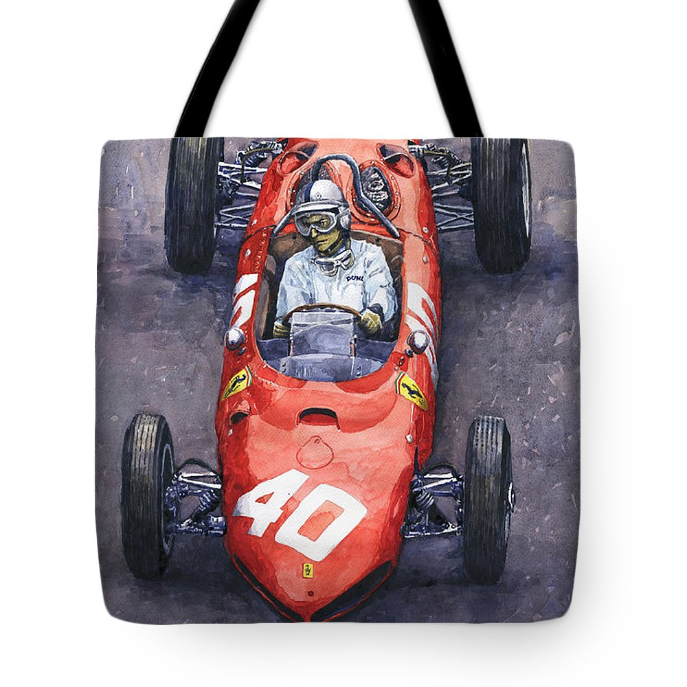 Painting Tote Bag featuring the painting 1962 Monaco Gp Willy Mairesse Ferrari 156 Sharknose by Yuriy Shevchuk