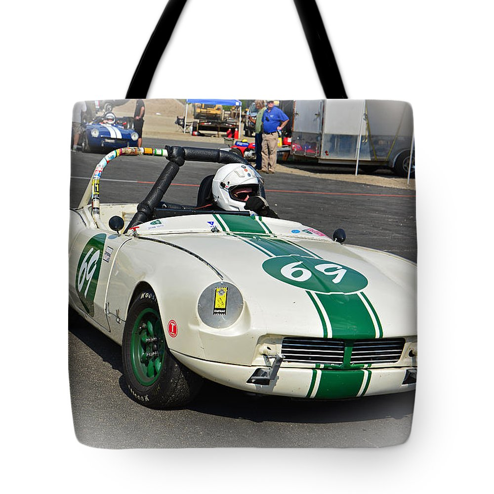 Race Tote Bag featuring the photograph 1963 Triumph Spitfire by Mike Martin