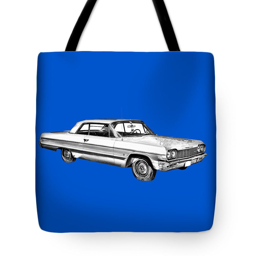 Chevy Tote Bag featuring the photograph 1964 Chevrolet Impala Car Illustration by Keith Webber Jr