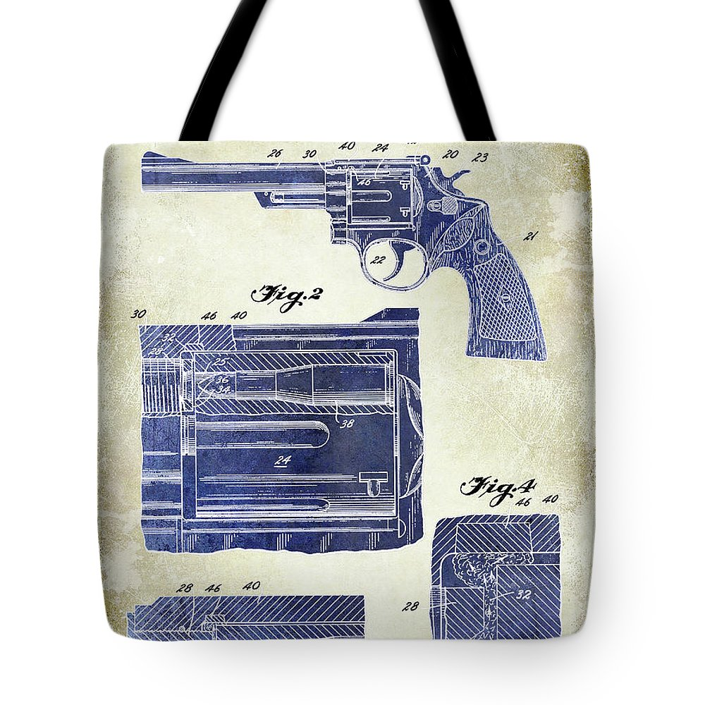1958 Smith And Wesson Firearm Patent Drawing Tote Bag featuring the photograph 1964 Smith And Wesson Gun Patent Two Tone by Jon Neidert