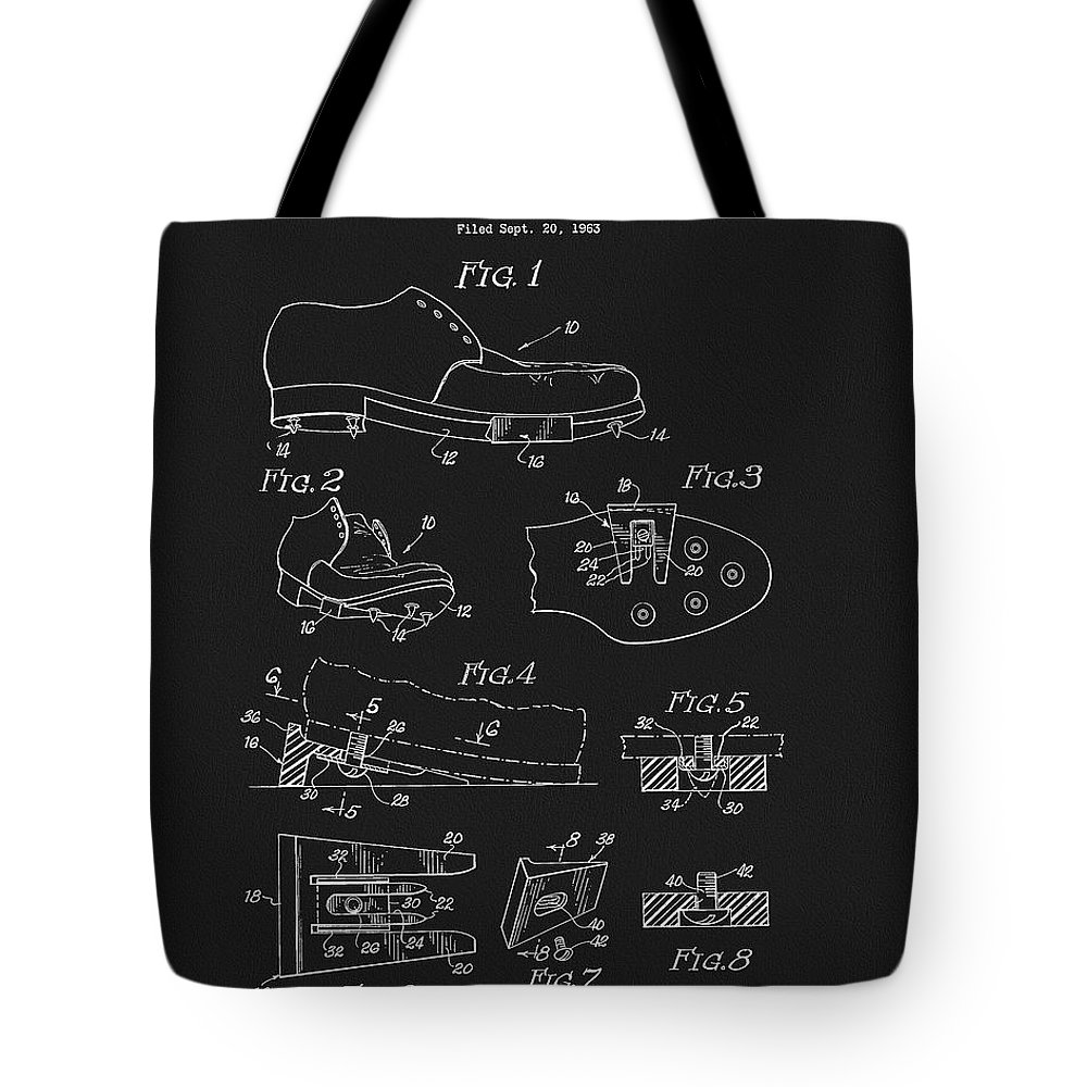 1965 Golf Shoes Patent Tote Bag featuring the drawing 1965 Golf Shoes Patent by Dan Sproul