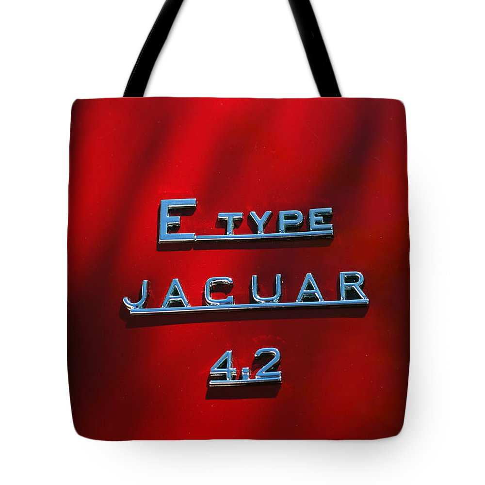 Car Tote Bag featuring the photograph 1965 Jaguar E Type Emblem by Jill Reger