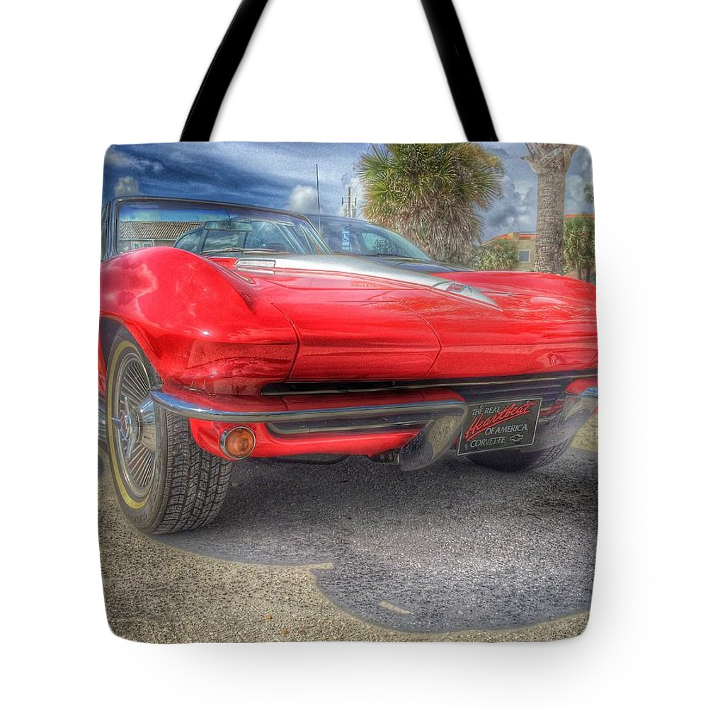Classic Car Tote Bag featuring the photograph 1965 Stingray by Charles J Pfohl