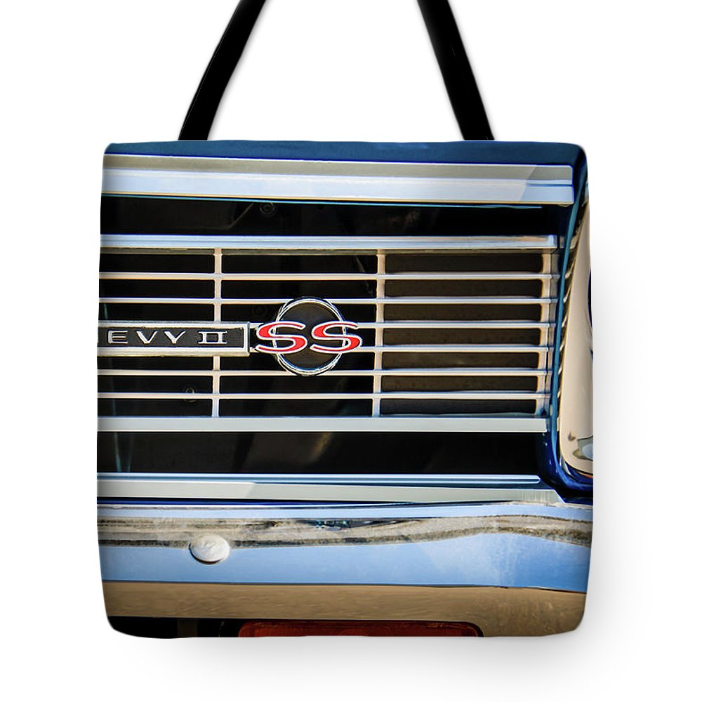 1966 Chevrolet Nova Chevy Ii Ss Grille Emblem 0075c Tote Bag For Featuring The Photograph