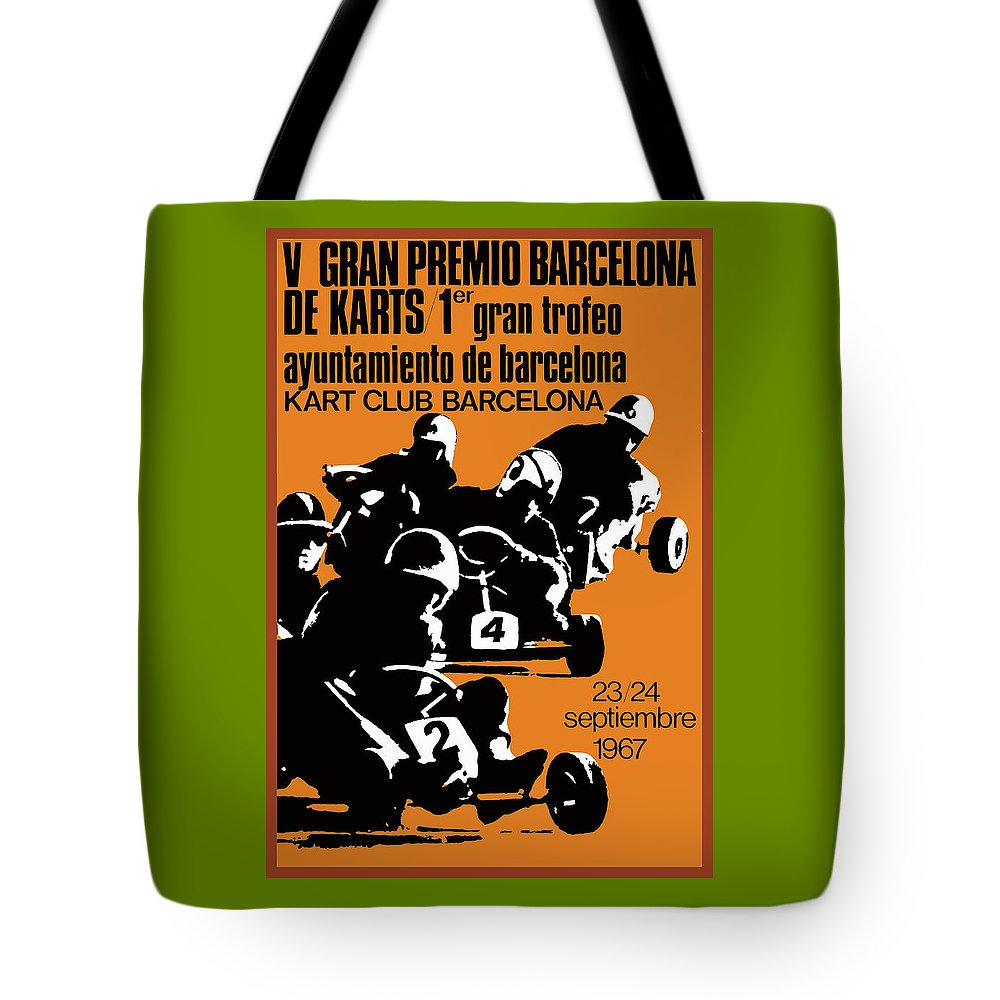 Go Kart Tote Bag featuring the digital art 1967 Barcelona Kart Racing Poster by Retro Graphics