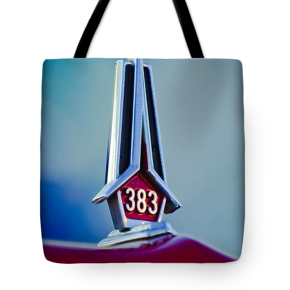 1967 Plymouth Saturn Tote Bag featuring the photograph 1967 Plymouth Saturn Hood Ornament by Jill Reger