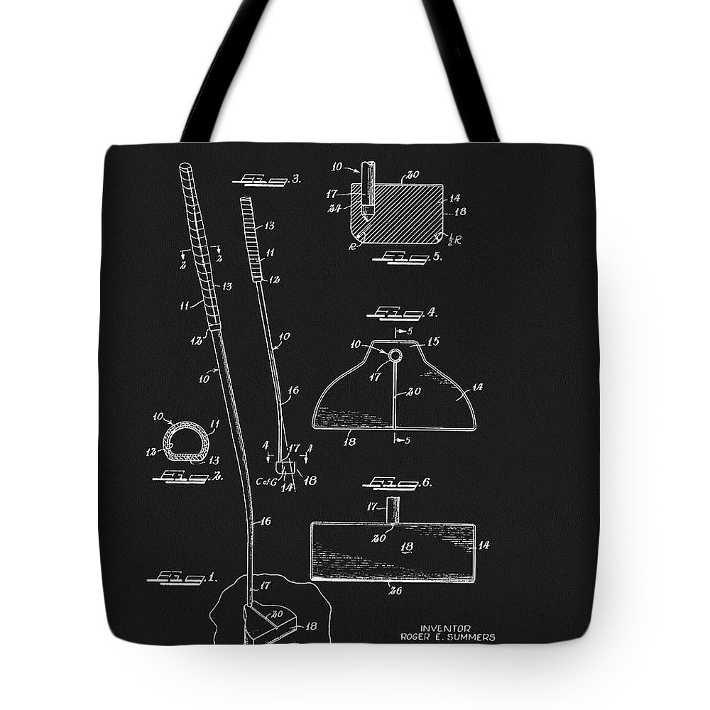1967 Golf Putter Patent Tote Bag featuring the drawing 1967 Summers Golf Putter Patent by Dan Sproul