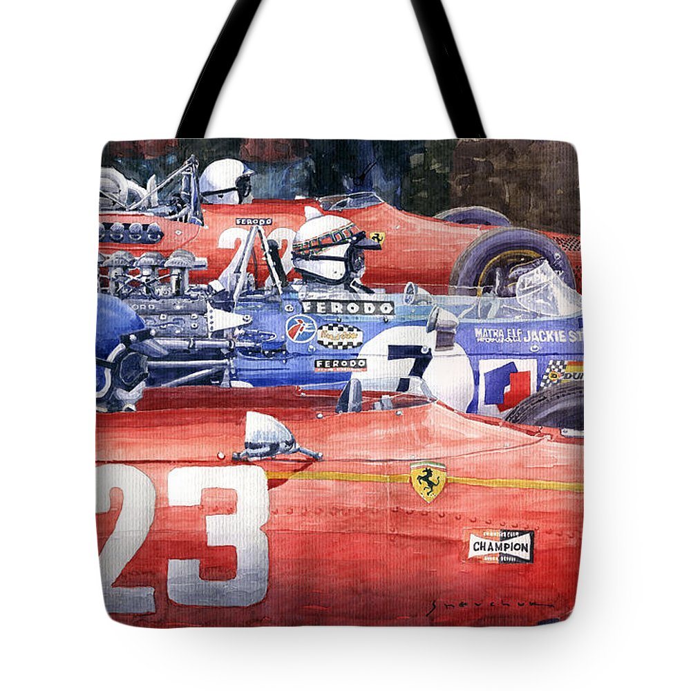 Watercolor Tote Bag featuring the photograph 1968 Belgie Gp Spa Ickx Amon Ferrari 312 Stewart Matra Cosworth M15 by Yuriy Shevchuk