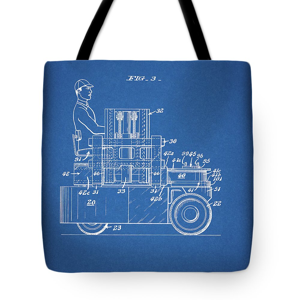 Forklift Patent Drawing Tote Bag featuring the mixed media 1968 Lift Truck Patent by Dan Sproul