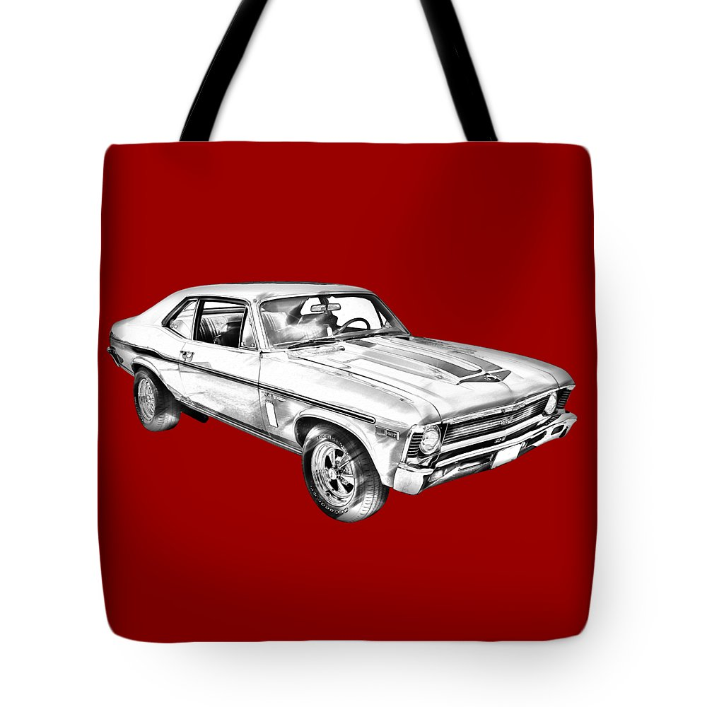 Antique Tote Bag featuring the photograph 1969 Chevrolet Nova Yenko 427 Muscle Car Illustration 1969 by Keith Webber Jr