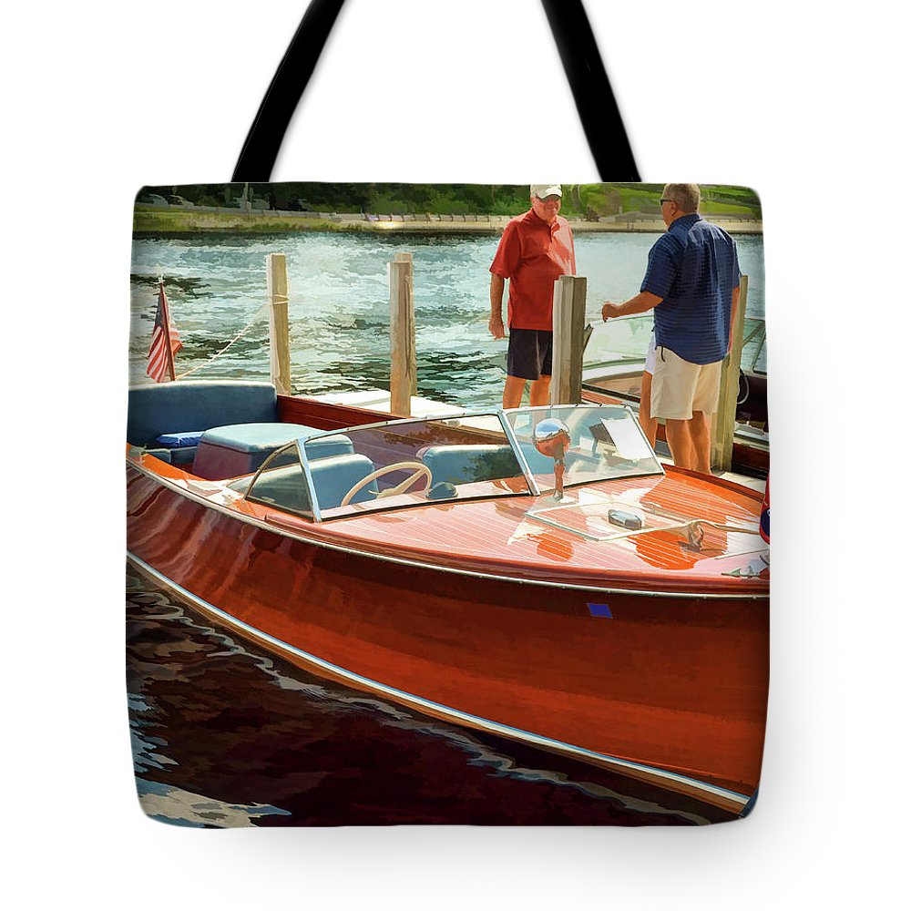 Boat Tote Bag featuring the photograph 1969 Chris-craft by Dave Thompsen