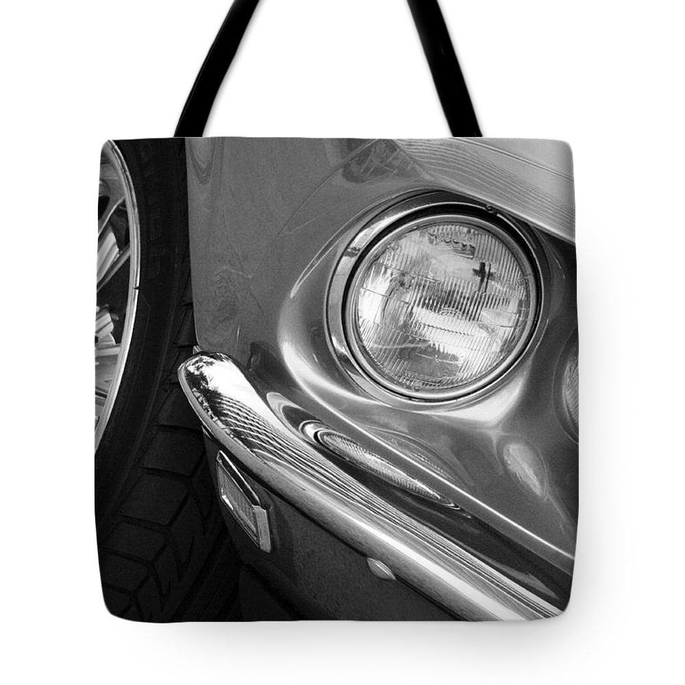 Transportation Tote Bag featuring the photograph 1969 Ford Mustang Mach 1 Front Black And White by Jill Reger