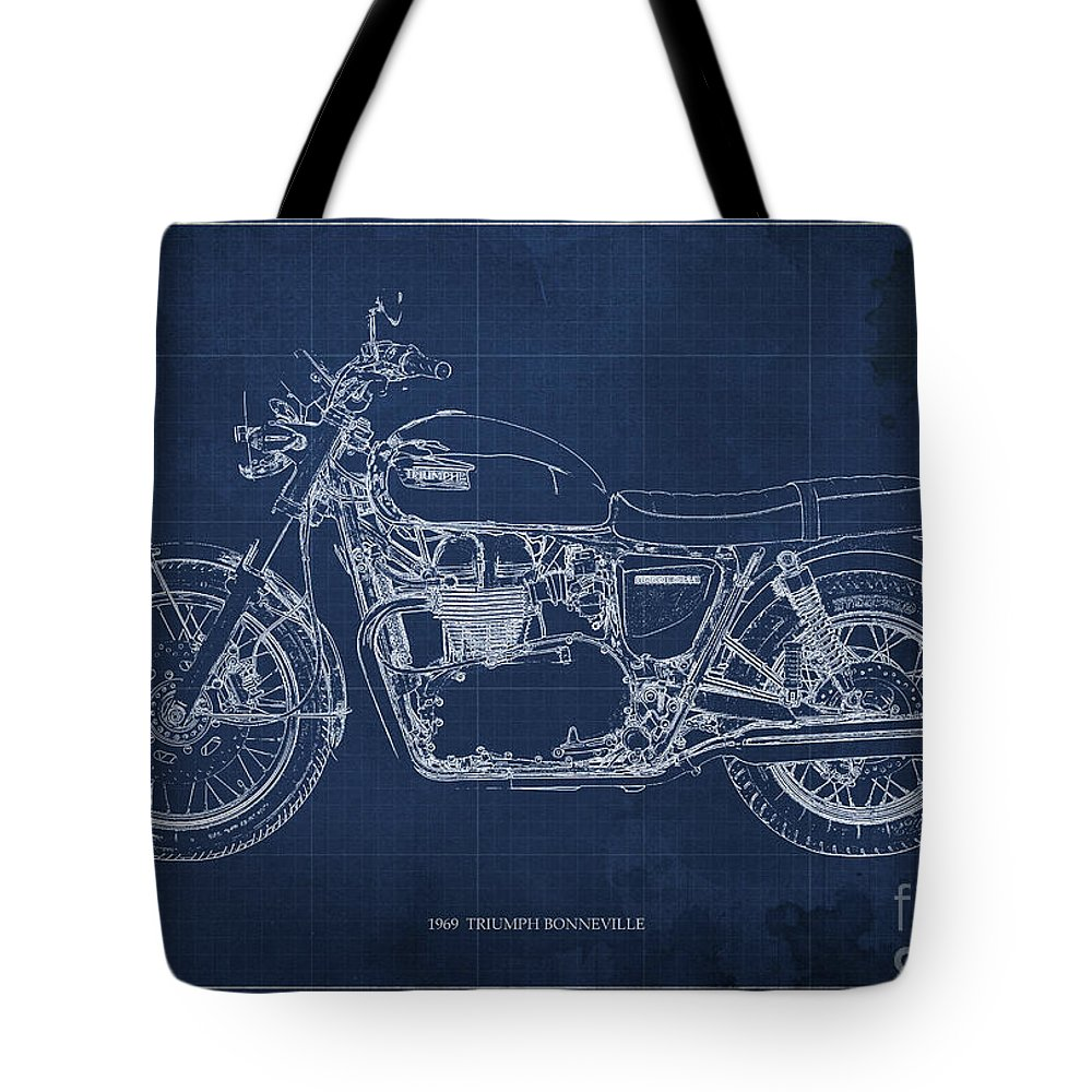 Moto Blueprint Drawings Tote Bags