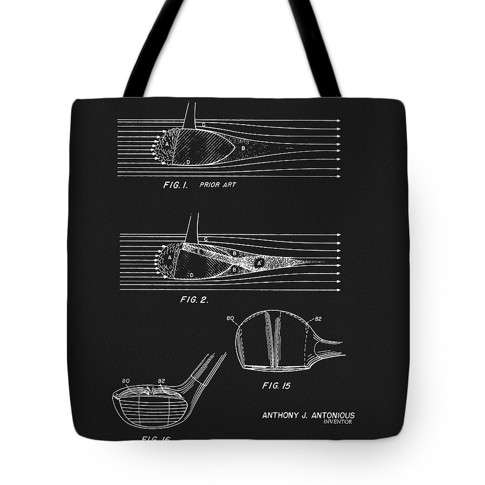 1969 Wood Golf Club Patent Tote Bag featuring the drawing 1969 Wood Golf Club Patent by Dan Sproul