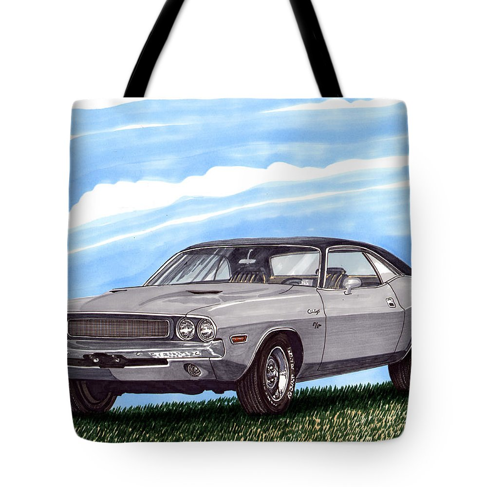 1970 Dodge Challenger. Great Muscle Cars Of The Seventies Tote Bag featuring the painting 1970 Dodge Challenger by Jack Pumphrey