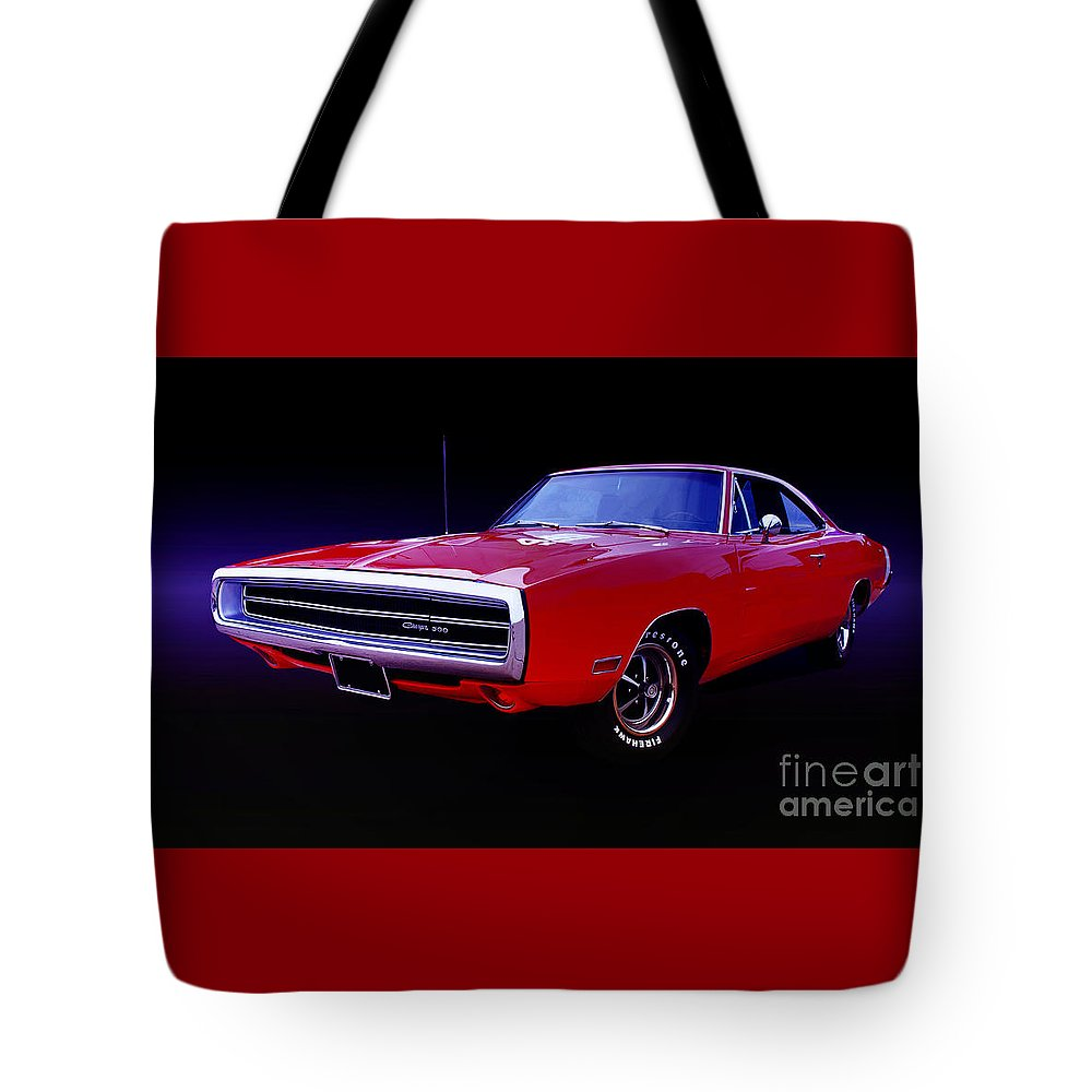 Automotive Tote Bag featuring the photograph 1970 Dodge Charger 500 by Thomas Burtney