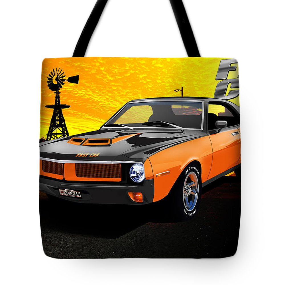 1970 Tote Bag featuring the digital art 1970 Javelin by Doug Schramm