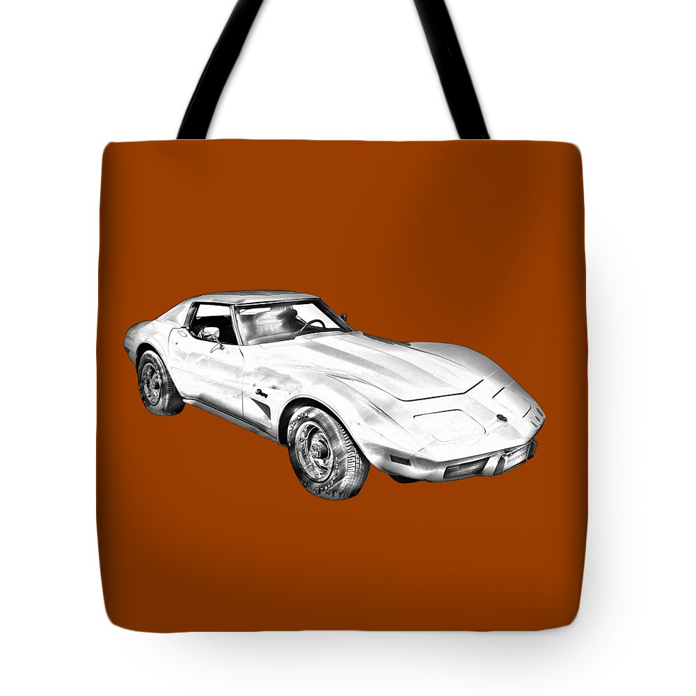 Car Tote Bag featuring the photograph 1975 Corvette Stingray Sports Car Illustration by Keith Webber Jr