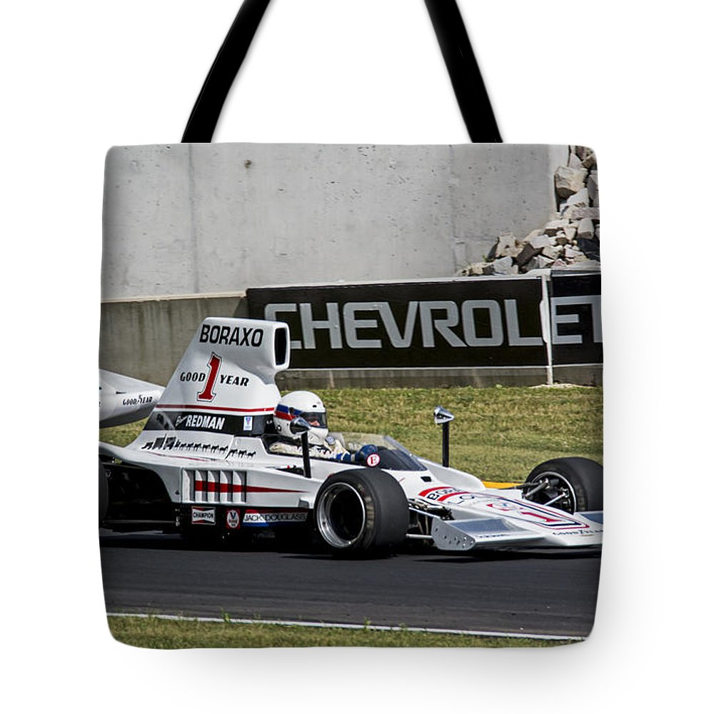 Automobile Tote Bag featuring the photograph 1976 Lola T332c F5000 At Road America by Tad Gage