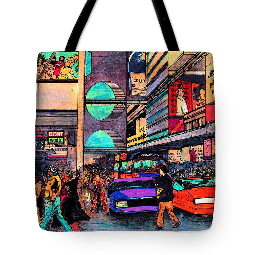 Times Square Tote Bag featuring the digital art 1984 vision of Times Square 2015 by Jorge Delara