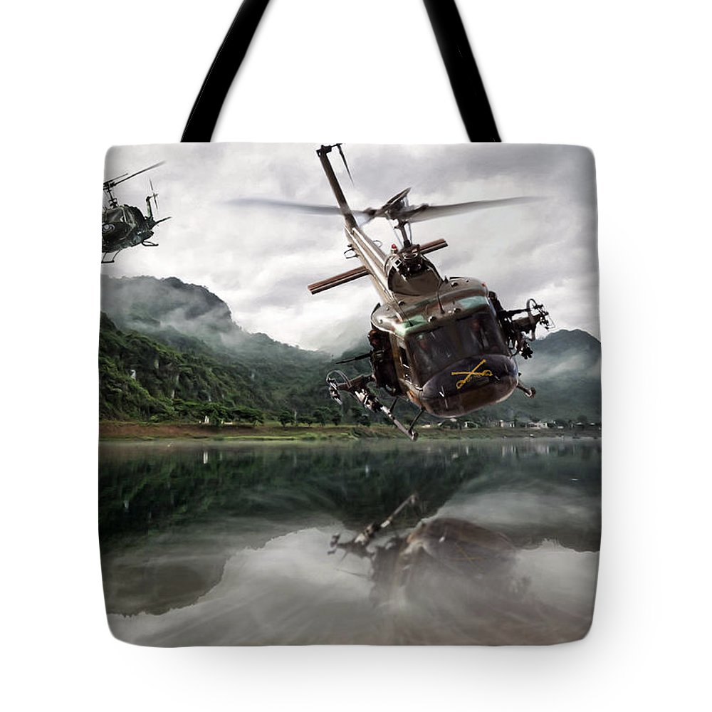 Aviation Tote Bag featuring the digital art 1st Cavalry Assault by Peter Chilelli