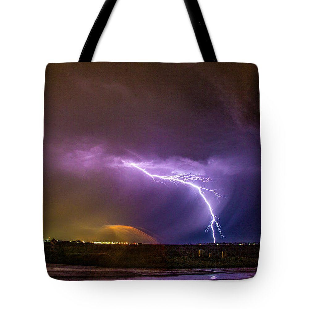 Nebraskasc Tote Bag featuring the photograph 1st Severe Night Tboomers Of 2018 022 by NebraskaSC