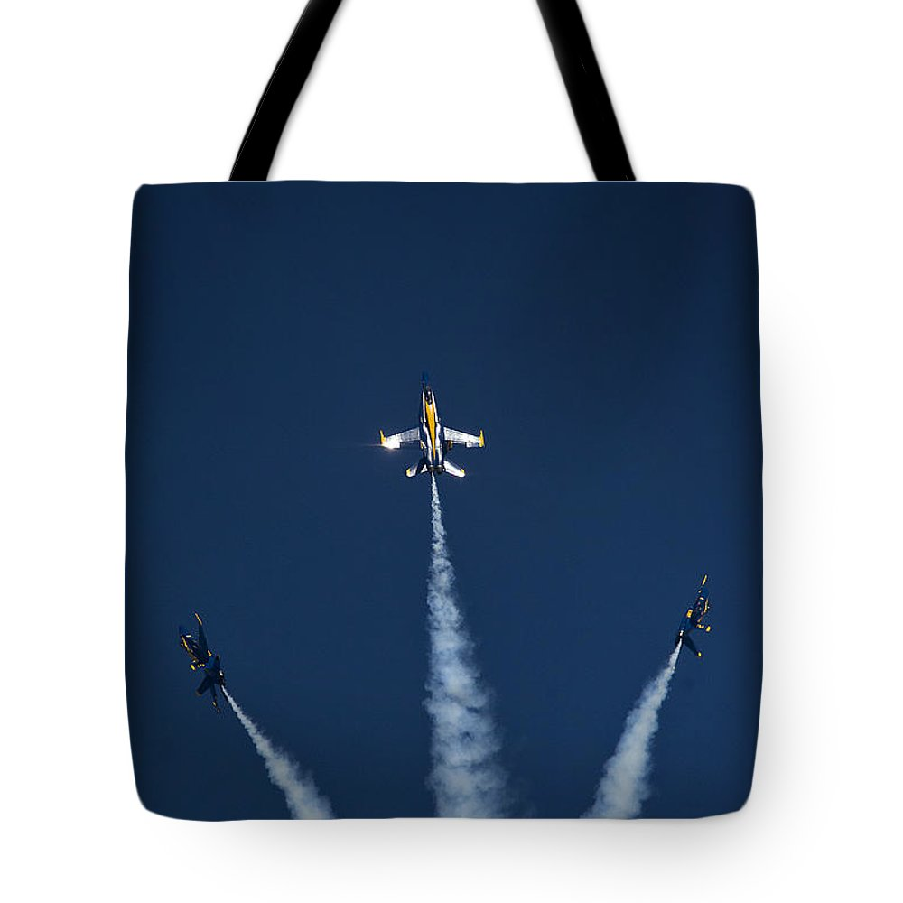Joint Base Andrews Is Home To The Air Force District Of Washington's 11th Wing With Partner Units Including The Air Mobility Command's 89th Airlift Wing Tote Bag featuring the painting The Blue Angels by Celestial Images