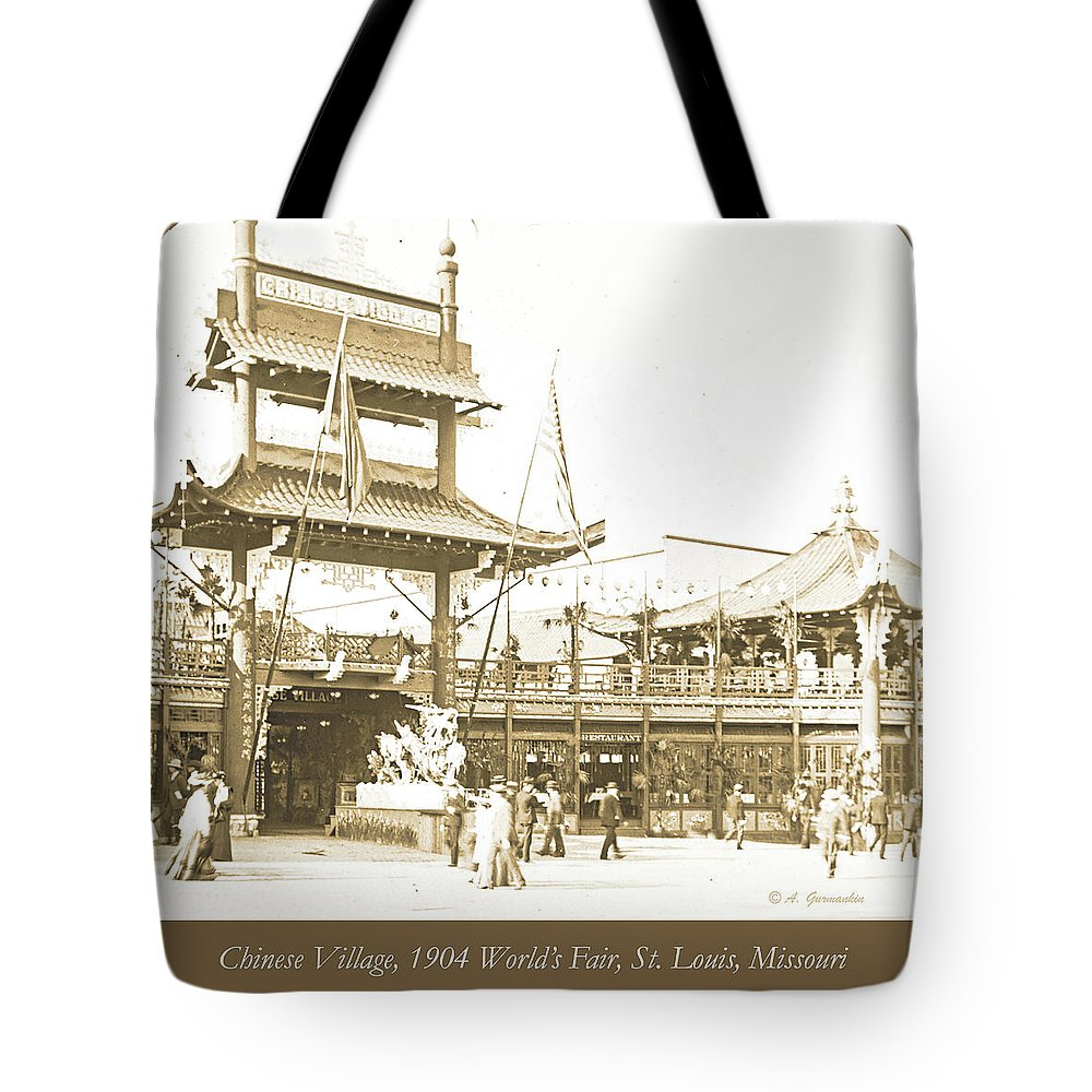 Chinese Village Tote Bag featuring the photograph 1904 Worlds Fair, Chinese Village by A Gurmankin